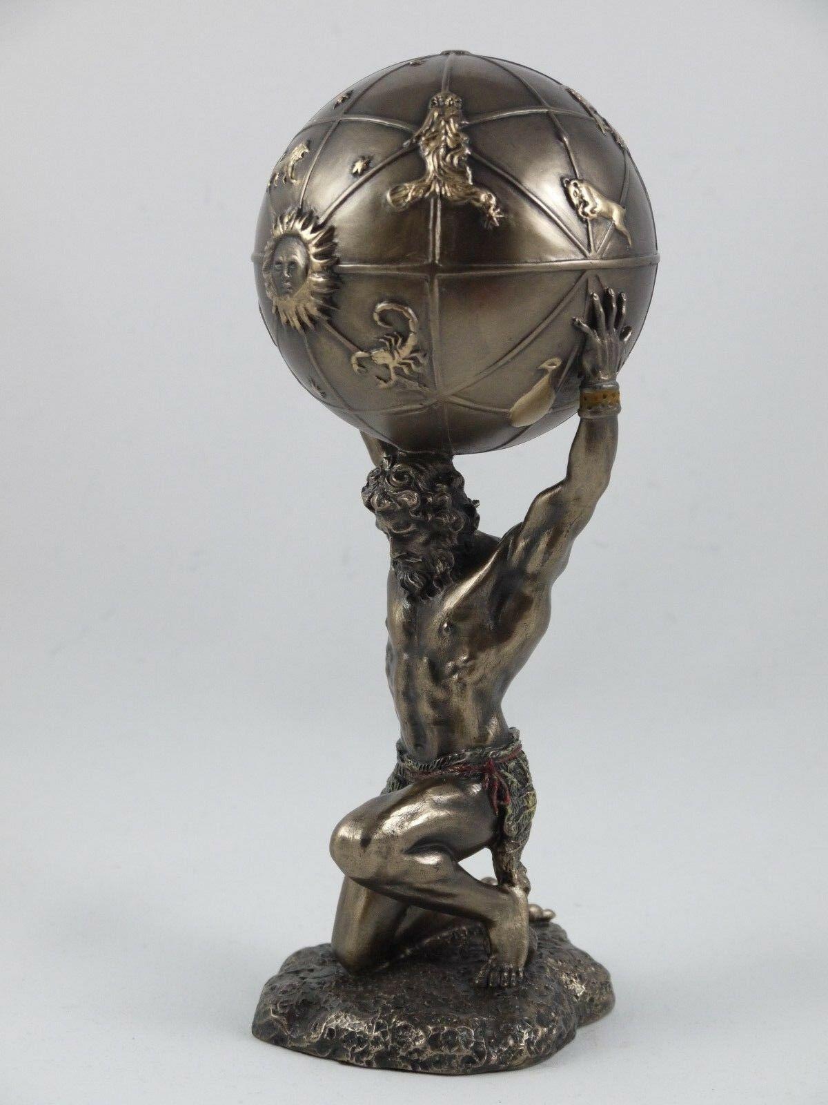 Atlas Carrying The World Greek God Statue Bronze Finish Figurine Sculpture 8 26