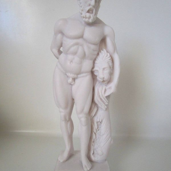 Hercules Nemean Lion Nude Male Alabaster Statue Sculpture NEW Mythology 9.8″
