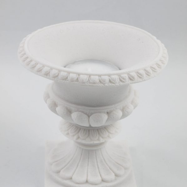 Ancient Greek  Candle Holder Flower Pot Style  Alabaster White Wedding Romantic Dinner Ceremony