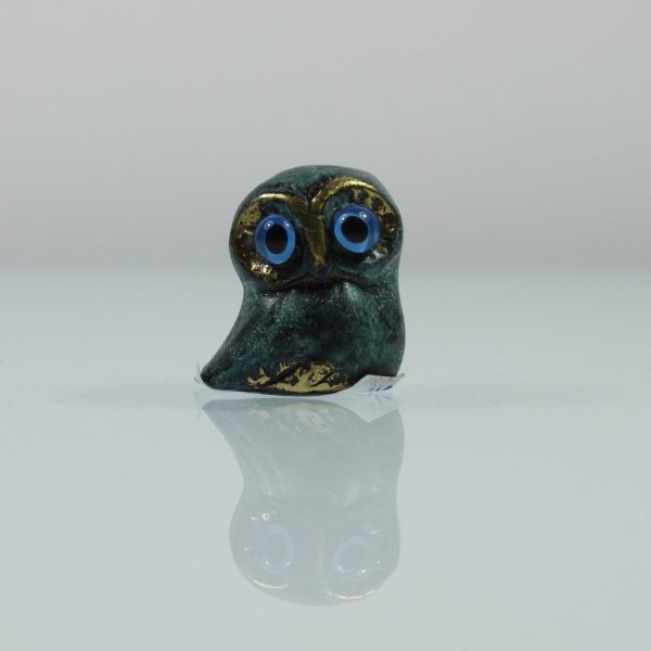 Owl of Athens Wisdom Solid Bronze Greek Green-Gold Handmade Miniature