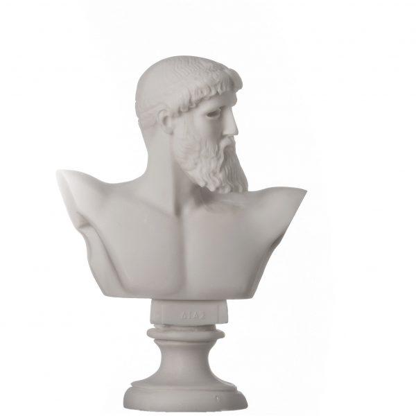 ZEUS King Of Gods Greek Roman Bust Head Alabaster Statue Sculpture 6.3″