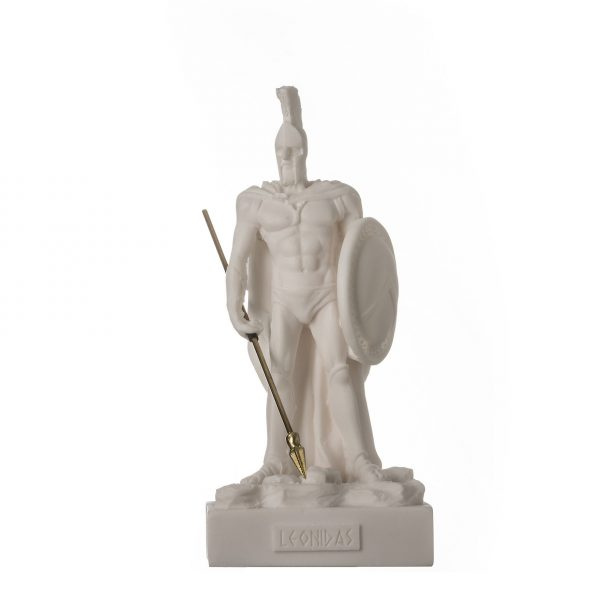 LEONIDAS Warrior King Spartan Statue Greek Sculpture Figure Alabaster 6.7″ / 17cm F.Shipping