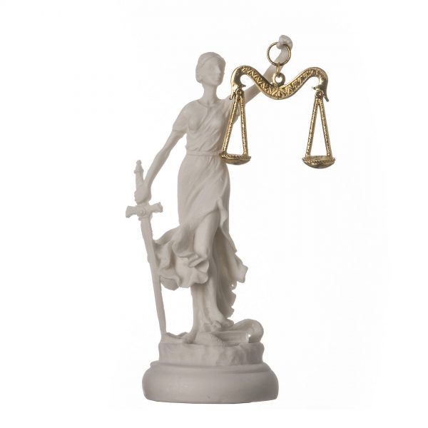 Greek goddess themis statue figurine blind lady justice sculpture lawyer gift 5.5″ 14cm round base