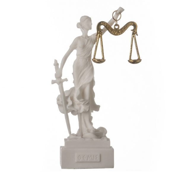 Greek goddess themis statue figurine blind lady justice sculpture lawyer gift 5.5″ 14cm square base