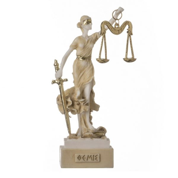 GREEK GODDESS THEMIS 5.5″ Statue Blind Lady Justice Lawyer Gift Golden