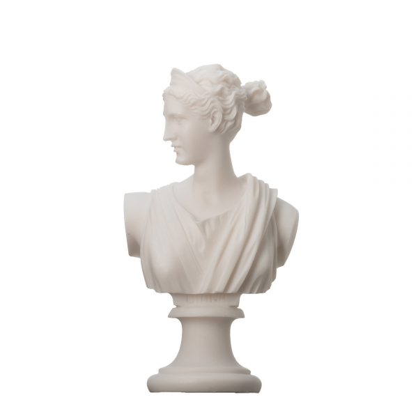 Artemis Diana Bust Greek Statue Nature Moon Goddess Alabaster 6.3″