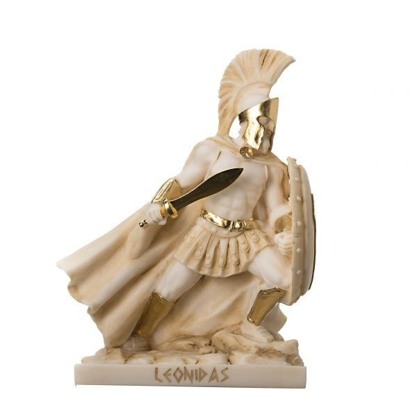 LEONIDAS Statue Greek Spartan King Sculpture Figure Alabaster Gold Colour 7.5″