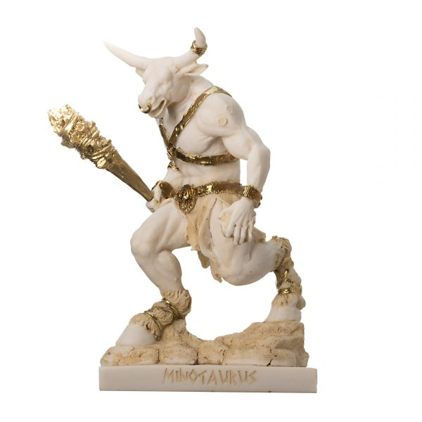 Minotaur Greek Mythology With Truncheon Statue Gold Alabaster 8""