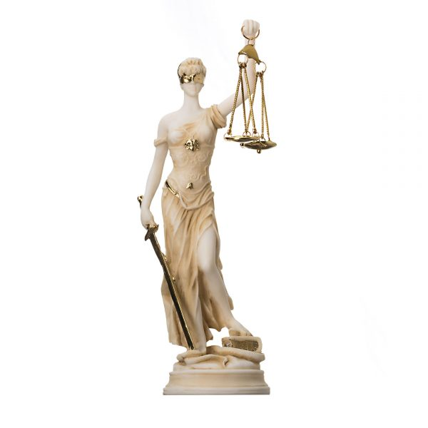 Greek Goddess Themis Statue Gold Colour Blind Lady Justice Sculpture Lawyer Gift