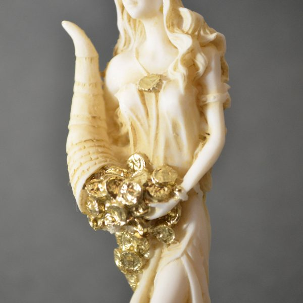 Goddess Of Wealth Tyche Lady Luck Fortuna Statue Alabaster Sculpture Golden 5″