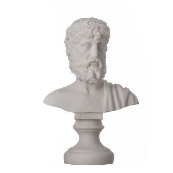 ZEUS Greek God of the Sky Greek Roman Bust Head Alabaster Statue Sculpture 6.3″