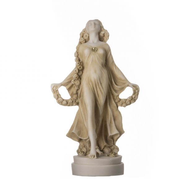 FLORA Goddess Golden Maiden of Blossoms Flowers Molded Marble Statue Sculpture