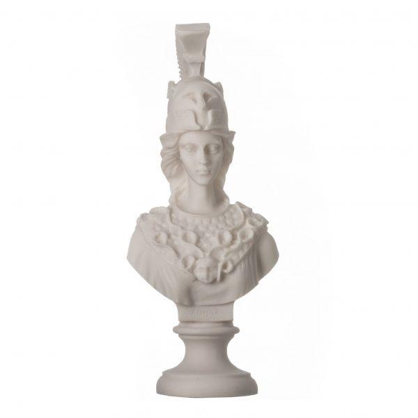 Sculpture Athena Athene Goddess Of Wisdom Alabaster Statue Bust 7.9″