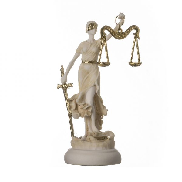 Greek goddess themis statue gold colour figurine blind lady justice sculpture lawyer gift 5.5″ 14cm