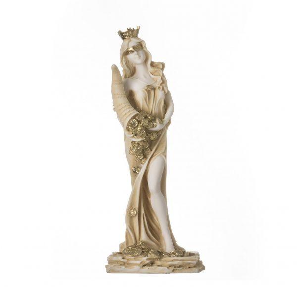 Goddess Of Wealth Tyche Lady Luck Fortuna Statue Alabaster Sculpture Golden