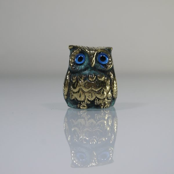 Owl of Wisdom Solid Bronze sculpture Owl of Athena Ancient Greek Green-Gold Oxidization