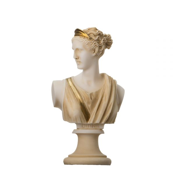 Artemis Diana Bust Greek Statue Nature Moon Goddess Gold Tone 5.9""
