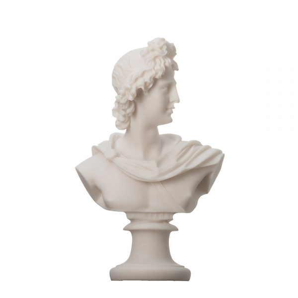 Apollo God Of Music Poetry Art Alabaster Stone Bust Head Statue Sculpture 5.9″