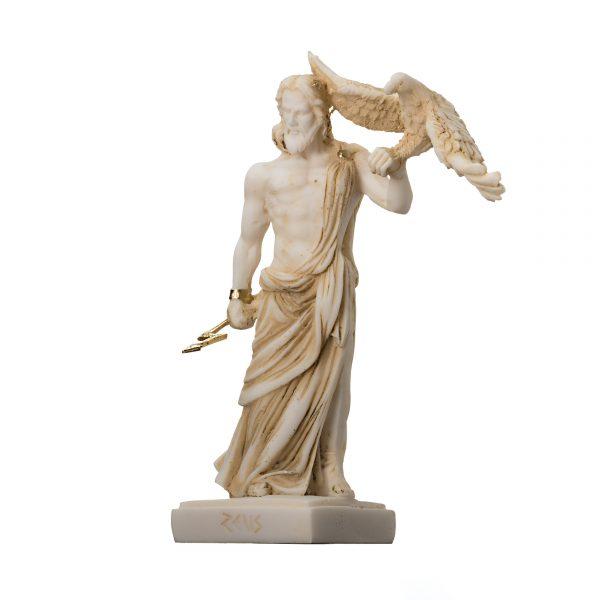 Zeus Greek God Jupiter Thunder Statue Figurine Gold Alabaster 6.3″