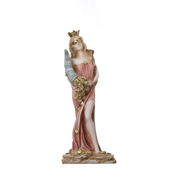Goddess Of Wealth Tyche Lady Luck Fortuna Statue Hand Painted Alabaster Sculpture 8.6″
