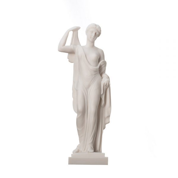 Eris Statue Holding Golden Apple of Discord Greek goddess of strife and discord Discordia Alabaster 9.84″