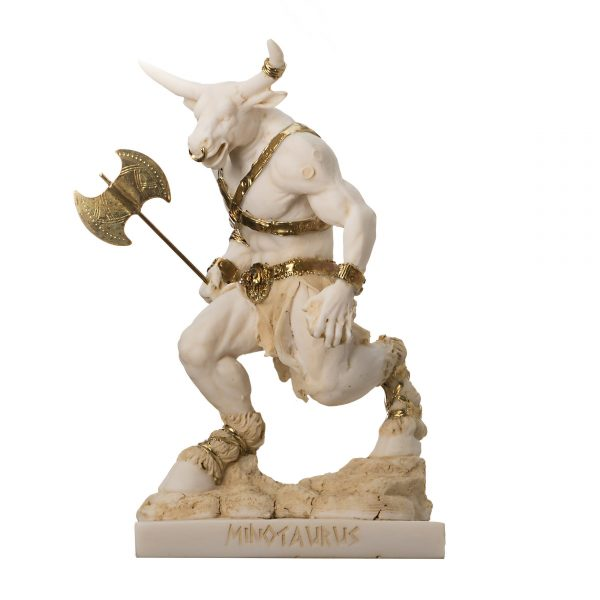 Minotaur Greek Mythology With Labrys Statue Gold Alabaster 8""