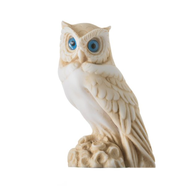 Owl of Athens Wisdom Alabaster Gold Tone sculpture Ancient Greek Handmade 5.9""