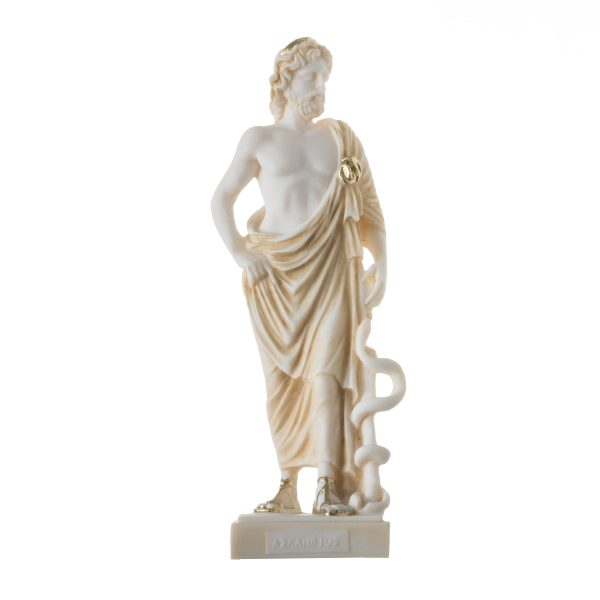 Asclepius Greek God of Medicine Alabaster H/m Gold Tone Museum Copy Statue  9″