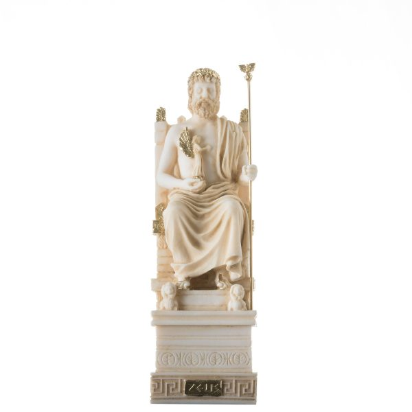 Zeus On Throne Jupiter God Greek Roman Statue Art Sculpture Figure Home Gold Tone 9.84″ 25cm