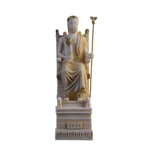 Zeus On Throne Jupiter God Greek Roman Gold Tone Alabaster Statue  8.6″ 21cm