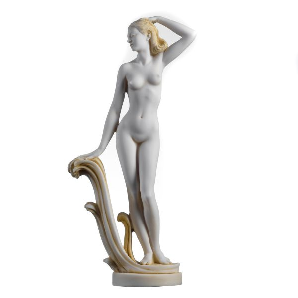 "Ancient Greek Goddess Aphrodite Naked Venus Alabaster Handpainted Statue Gold Tone 12.2"" Handmade"