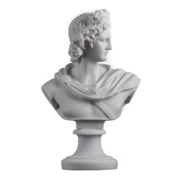 Apollo God Of Music Poetry Art Alabaster Stone Bust Head Statue Sculpture 8.66″