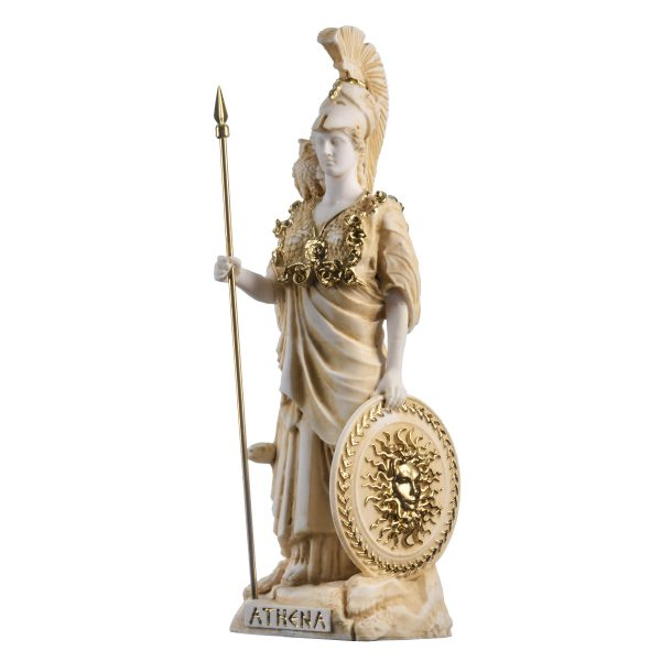 Athena With Owl Medusa Shield Goddess of wisdom, handicraft, and war Alabaster Statue Gold 10.2″