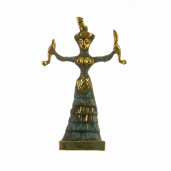 Minoan Snake Serpent Goddess of Crete Ariadne Knossos Solid Bronze Handmade 4.33″