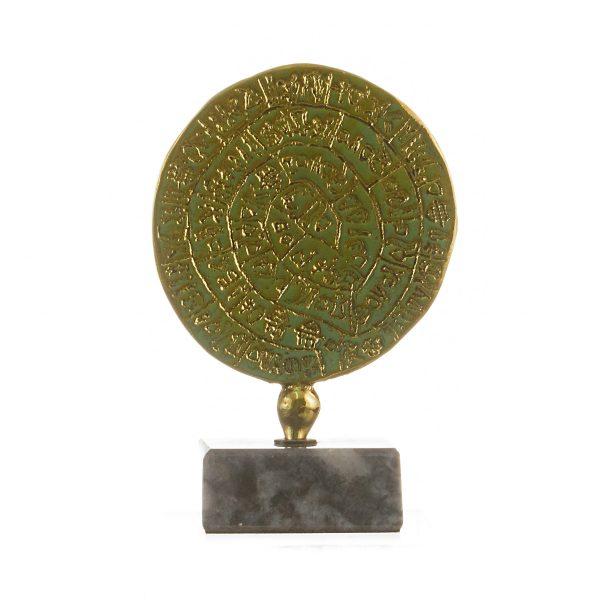 Minoan Phaistos Disc Solid Bronze Crete Knossos Handmade 3.93″