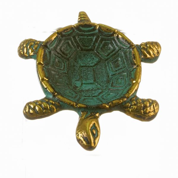Turtle Ashtray Solid Bronze Small Green Gold Handmade 4″ wide