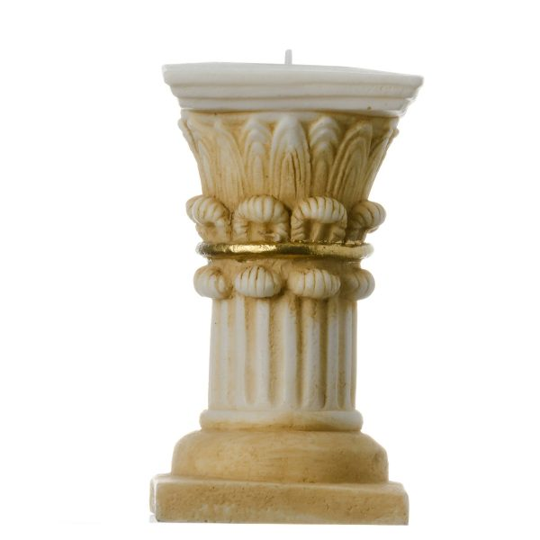 Corinthian Order Candle Holder Ancient Greek Column Decoration Architecture Gold Tone  4.7″