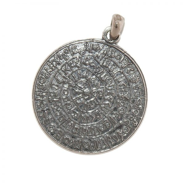 Phaistos Disc Silver Sterling 925 Large 2 Side  Mythical Greek Mens Women Pendant