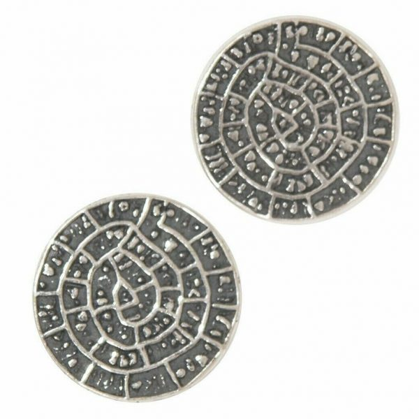 Phaistos Disc Knossos Earrings Silver Sterling 925 Mythical Greek Handmade