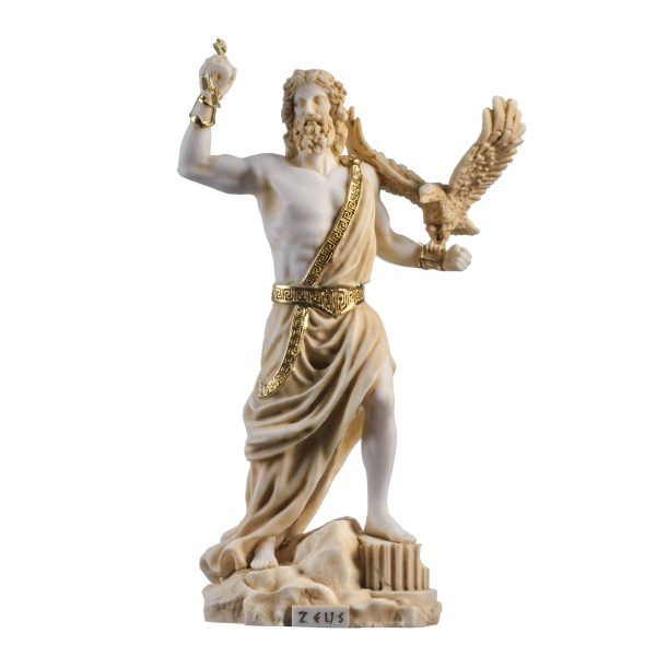 Zeus Greek God Jupiter Thunder Statue Figurine Gold Alabaster 9.25″