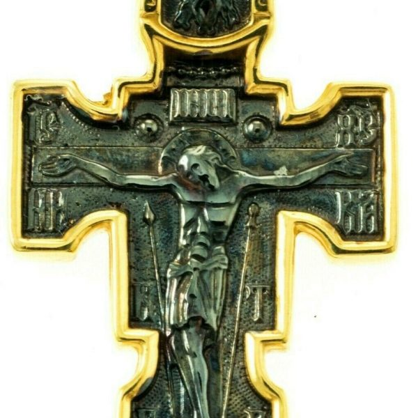 Orthodox Cross Russian Greek Crucifix Silver Gold Plated Precious Prayer