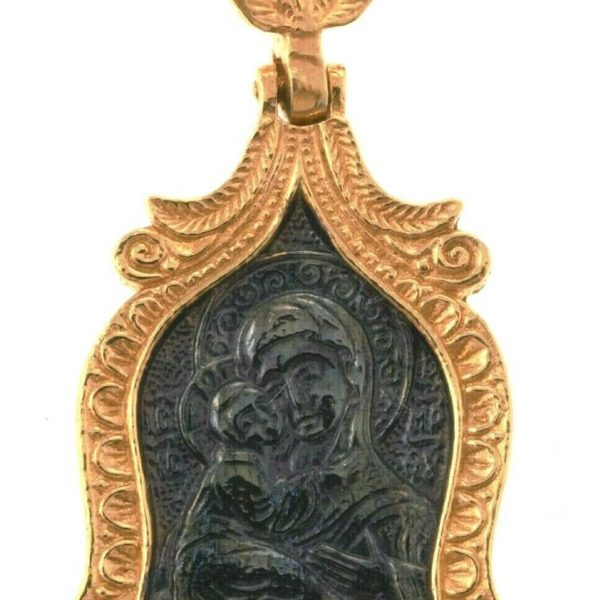 Russian Orthodox Pendant Mother Of Jesus Christ Silver 925+999 GOLD 1.37″
