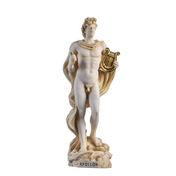 Apollo God Of Music Poetry Art Gold Tone Alabaster Statue Sculpture 9.05″