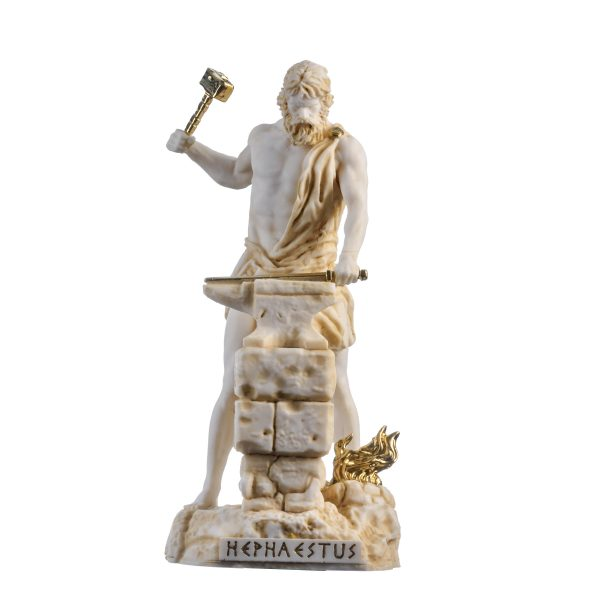 Hephaestus God of fire, metalworking, stone masonry, forges  and the art of sculpture Gold Tone 9.05″