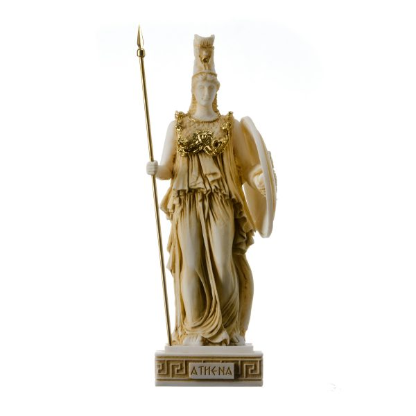 Athena Athene Goddess of wisdom, handicraft, and war Alabaster Statue Gold 10.2″