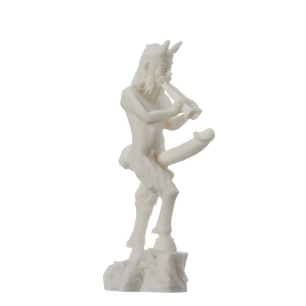 Pan Statue Panas Dionysus Son Faunus Phallus Penis Nude Sculpture Greek God of Nature Alabaster 7″