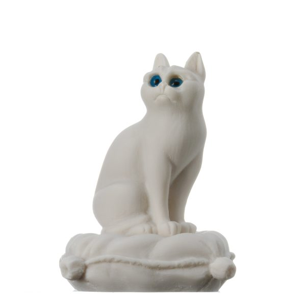 Cat Sitting on Pillow Alabaster White sculpture Handmade 6.2""