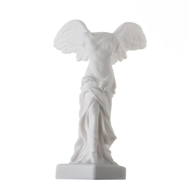 Winged Nike Victory of Samothrace Statue Alabaster Ancient Ruins Louvre Museum  Figurine 8.7″