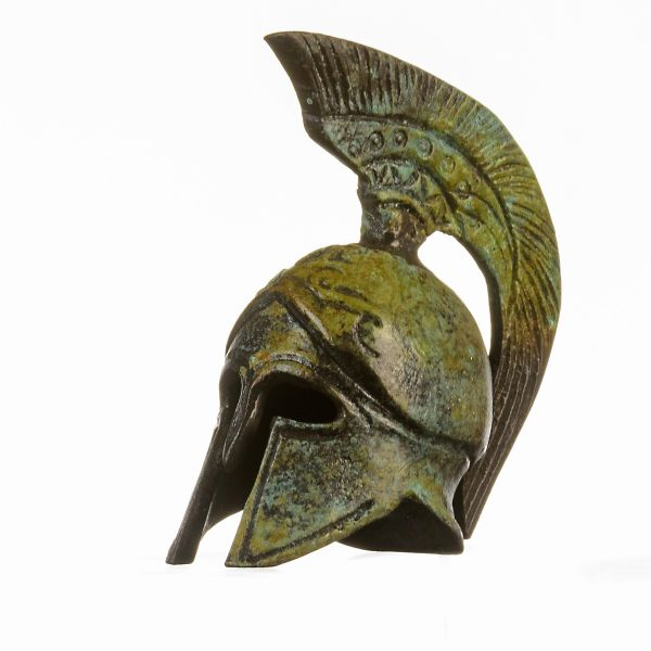 Ancient Greek Bronze Miniature Helmet Bronze  Handmade 3.54″