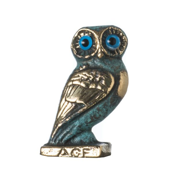 Owl of Athens Wisdom Bronze sculpture Ancient Greek Green-Gold Handmade 2.4″